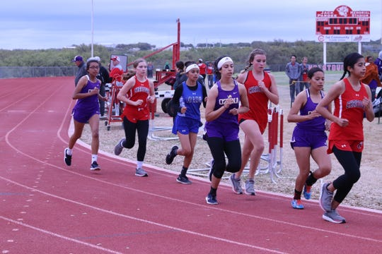 A pack of runners competes Wednesday at the District 7-2A Track and Field Meet Wednesday, April 3, 2019, in Christoval.