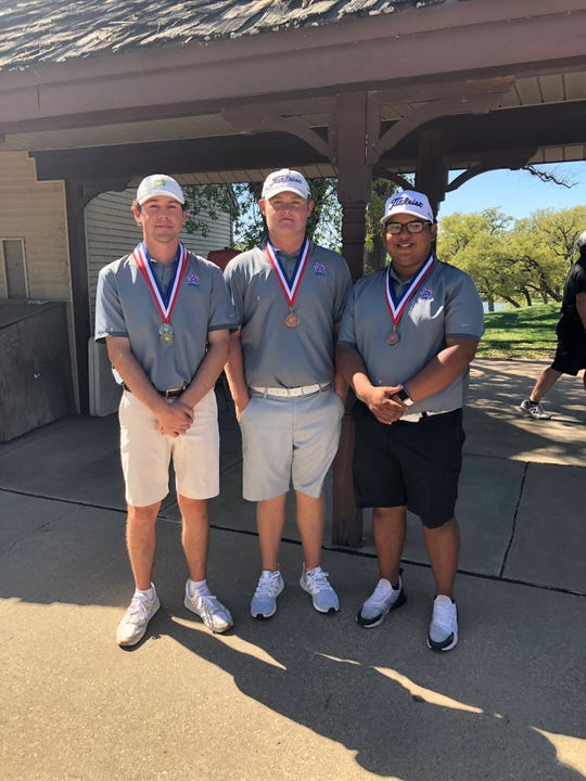 San Angelo Central High School boys golfers Flynn McNabb (left to right), Coby Herring and Sergio Soto were part of the Bobcats' District 3-6A team championship Thursday, April 4, 2019, at Squaw Valley Golf Course in Glen Rose. McNabb was second place in the medalist standings.