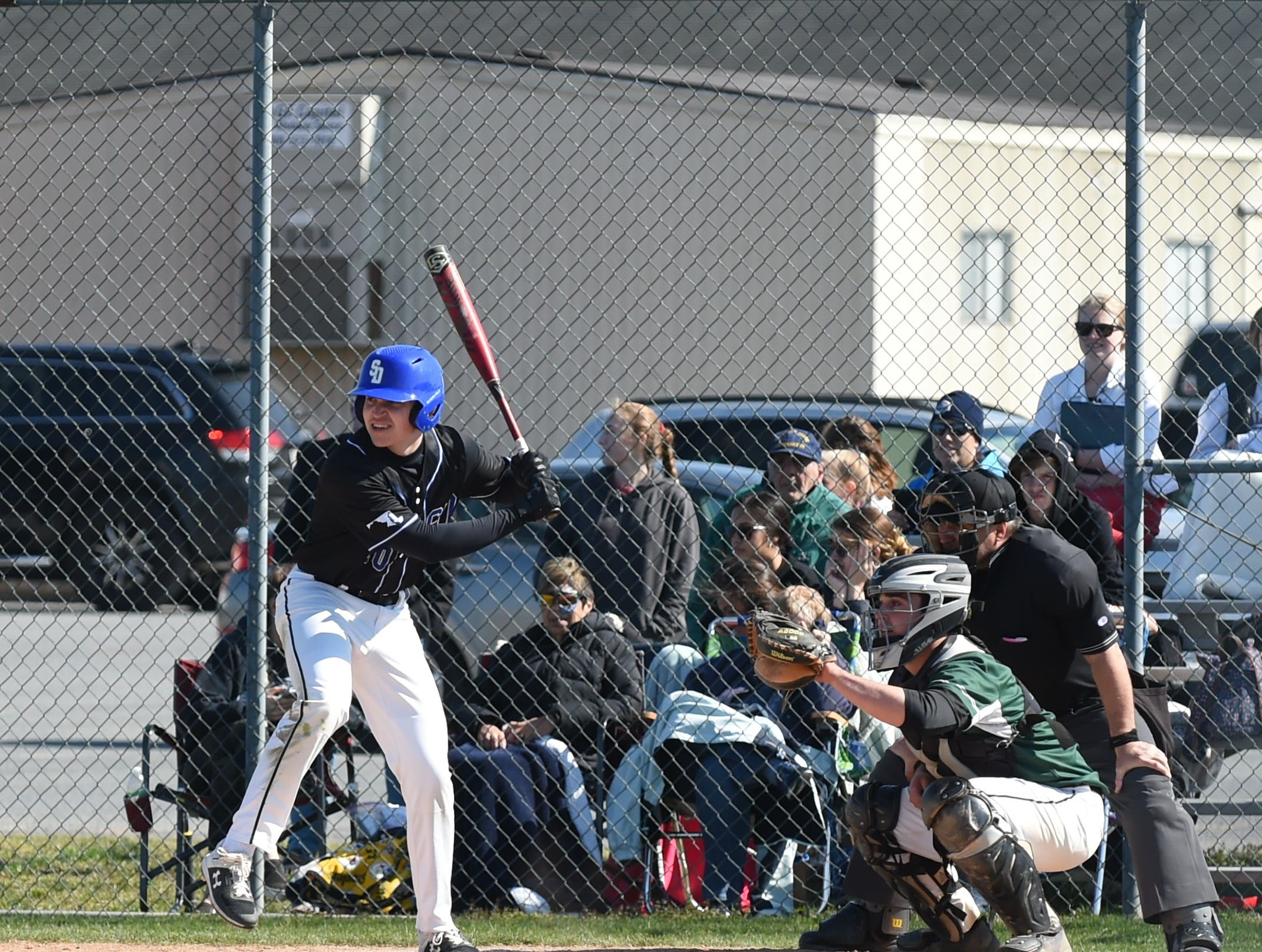 Stephen Decatur's Jack Rosenberg stares down a pitch on Wednesday, April 3, 2019.