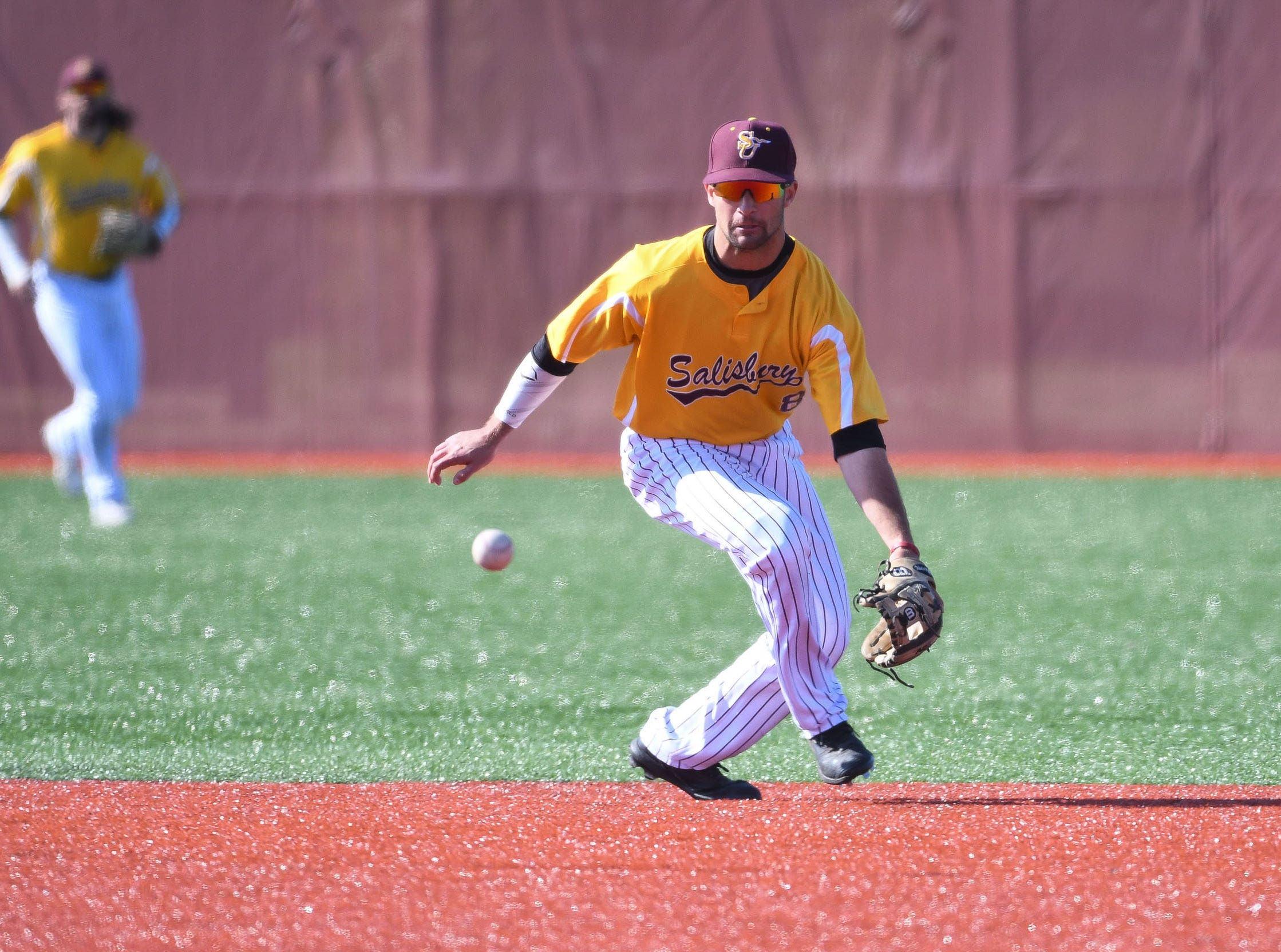 Salisbury University's Will Gutekunst makes the stop at 2nd base against Wesley on Wednesday, April 3, 2019.