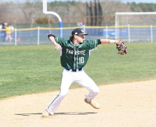 Parkside shortstop Calvin Malone looks to throw to first on Wednesday, April 3, 2019.