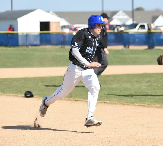 Stephen Decatur's Hayden Snelsire rounds the bases on Wednesday, April 3, 2019.