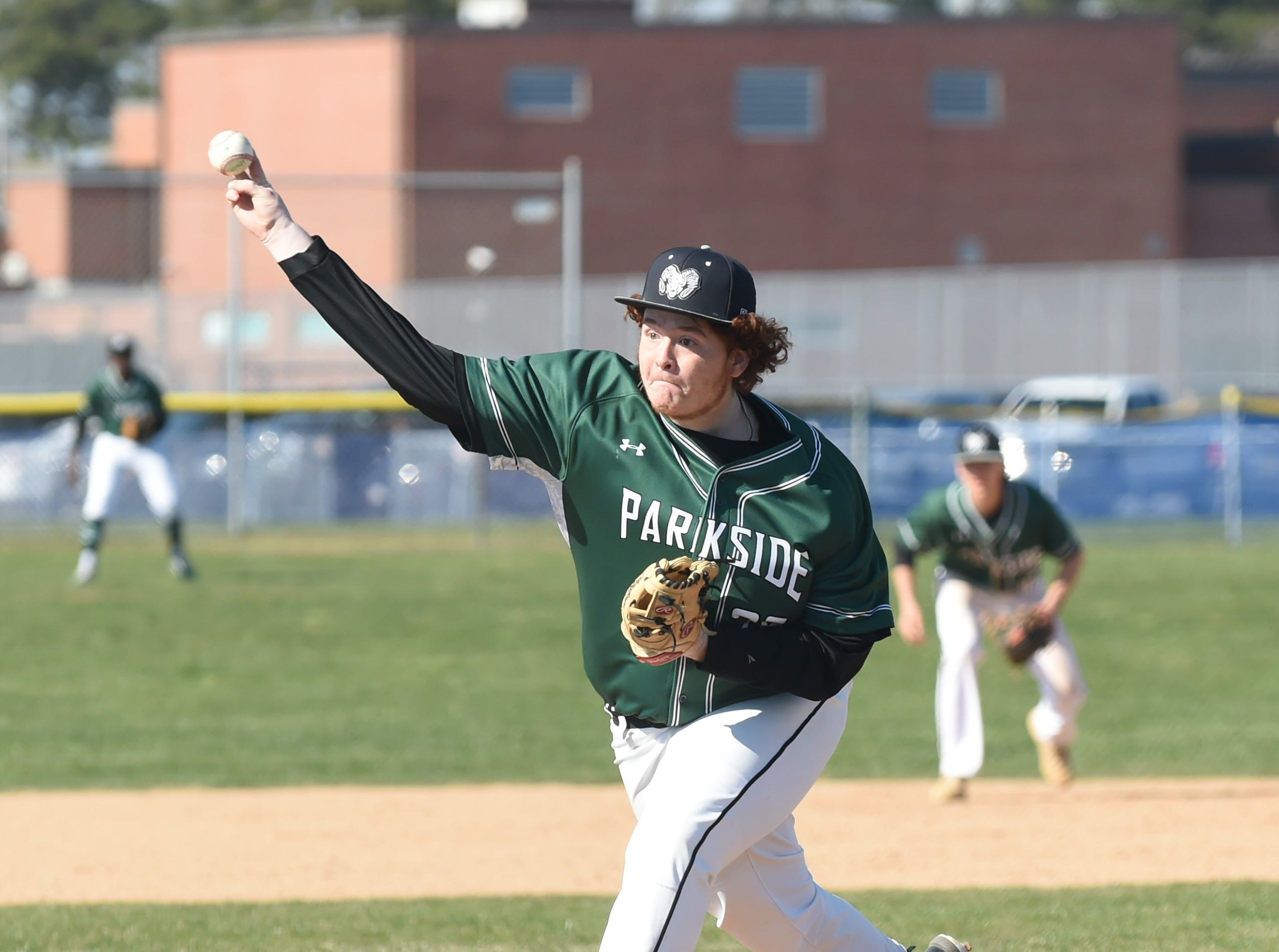 Parkside's Daniel Warwick pitches to a Stephen Decatur batter on Wednesday, April 3, 2019.
