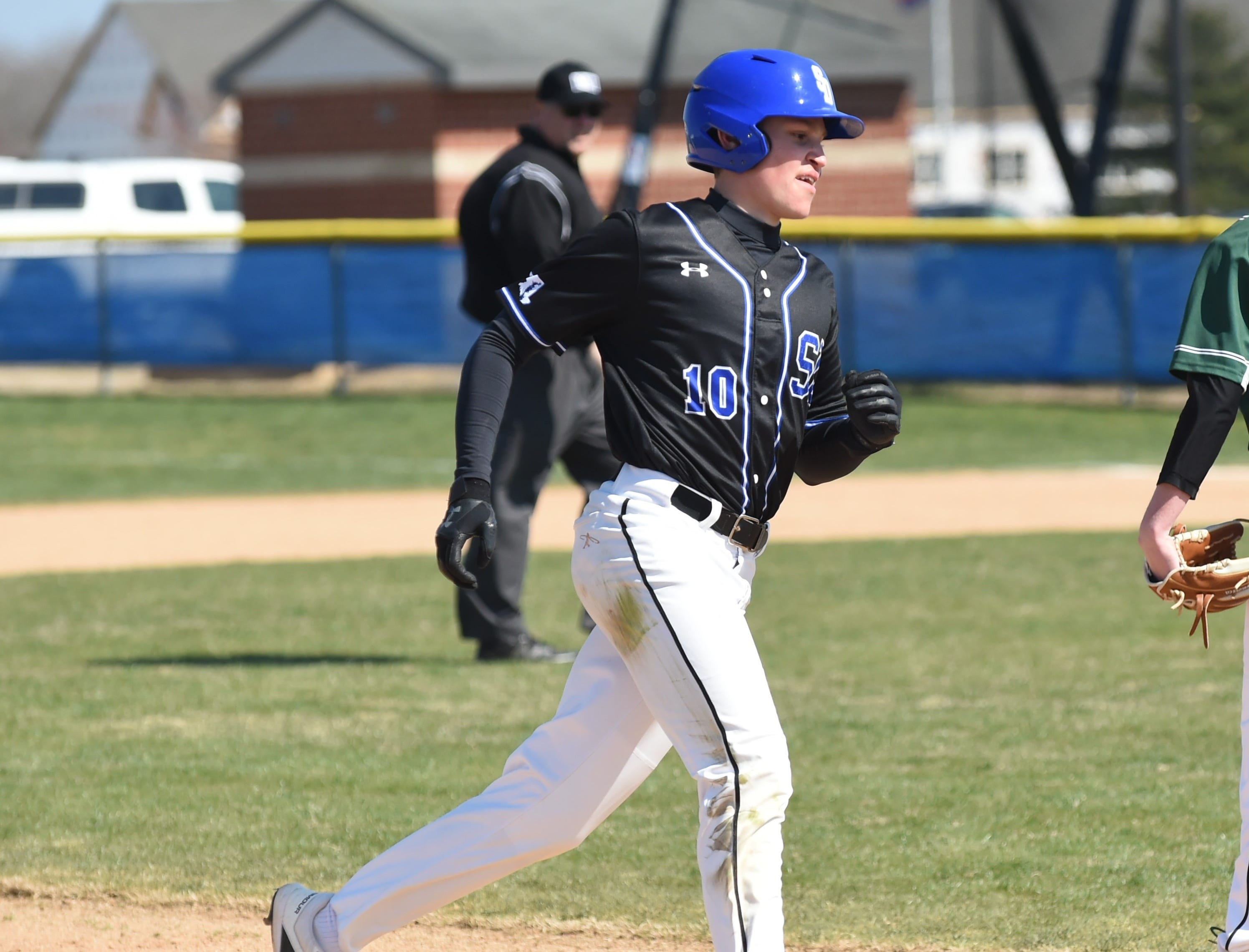 Stephen Decatur's Jack Rosenberg heads home after a home run against Parkside on Wednesday, April 3, 2019.
