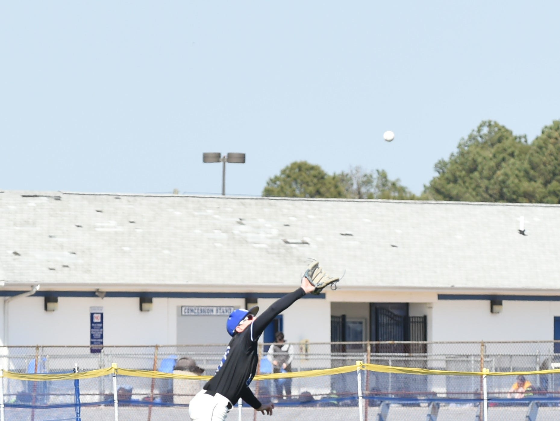 Stephen Decatur outfielder Jack Rosenberg goes for the catch on Wednesday, April 3, 2019.