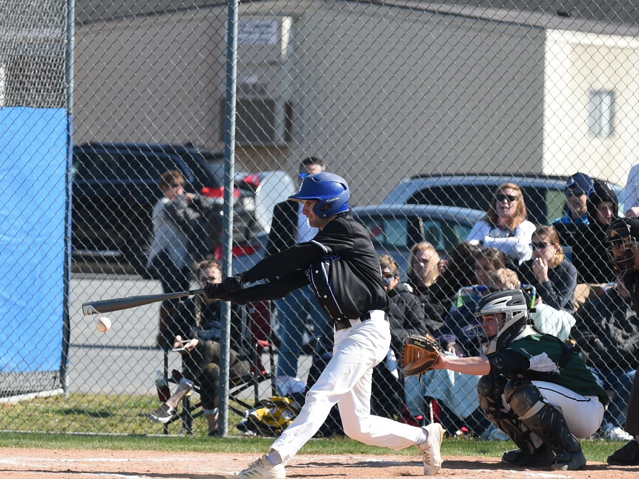 Stephen Decatur's Blake Marshall gets a hit against Parkside on Wednesday, April 3, 2019.