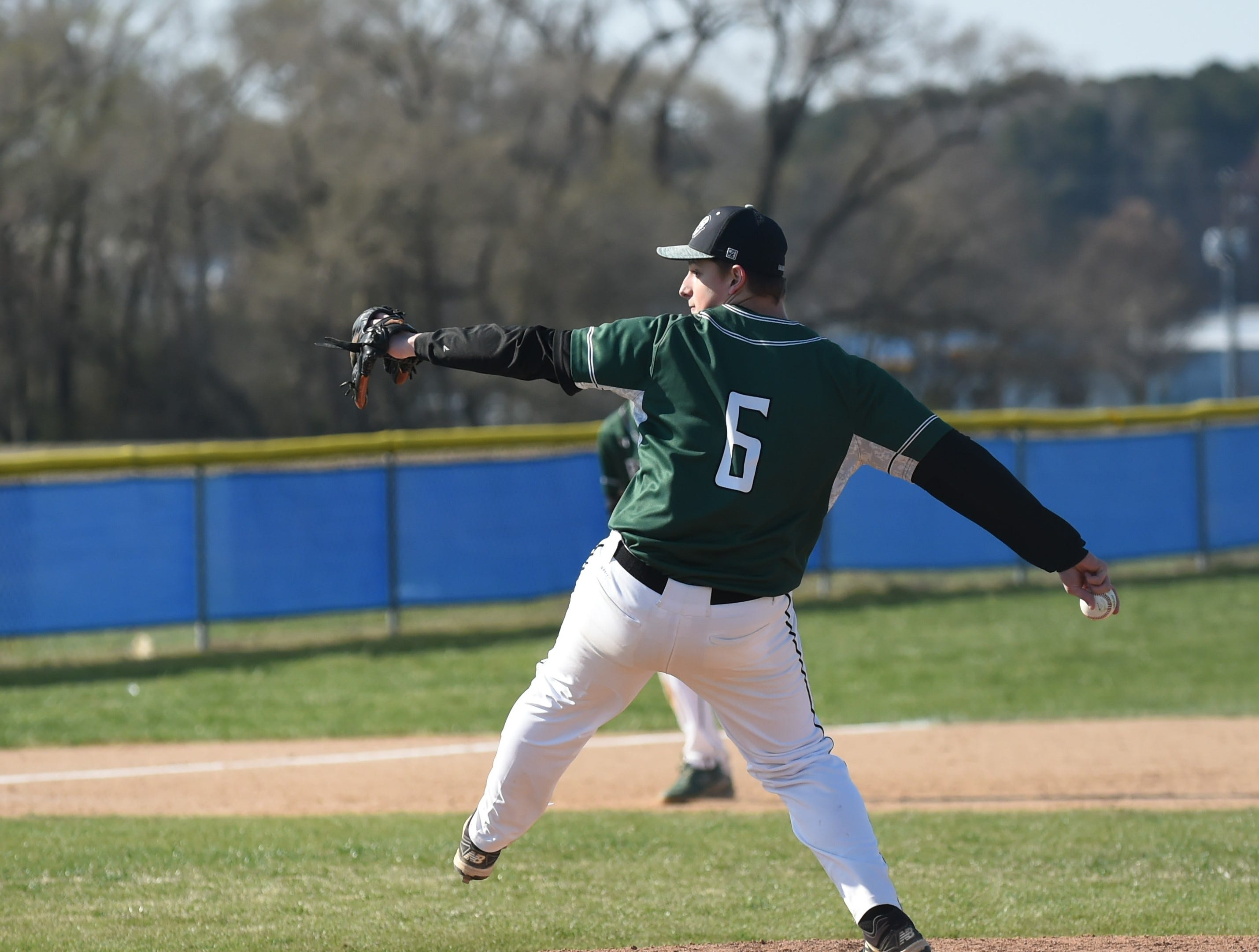 Parkside's Daniel Warwick pitches against Stephen Decatur on Wednesday, April 3, 2019.