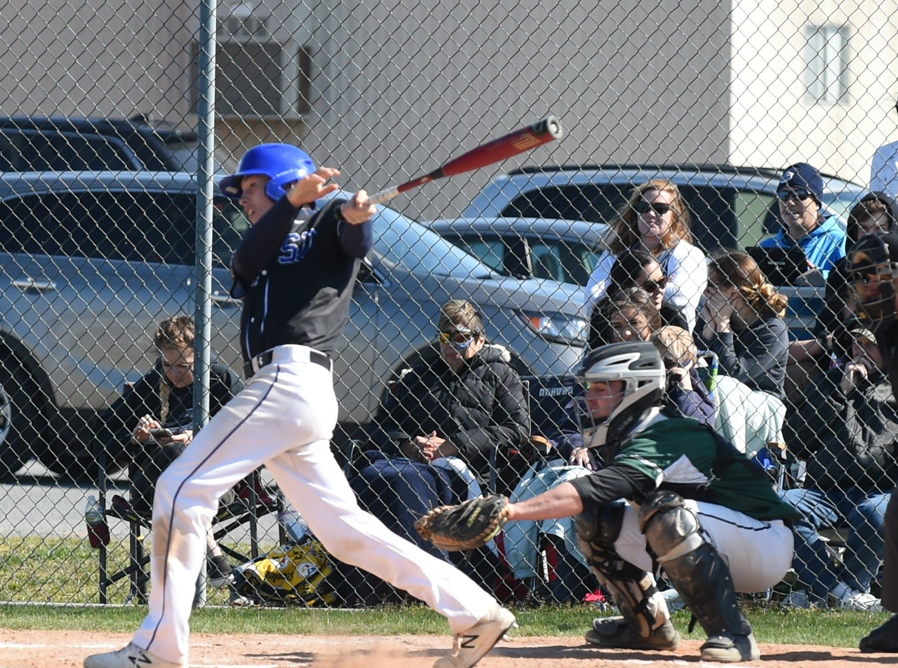 Stephen Decatur's Hunter Selzer hits a double against Parkside on Wednesday, April 3, 2019.
