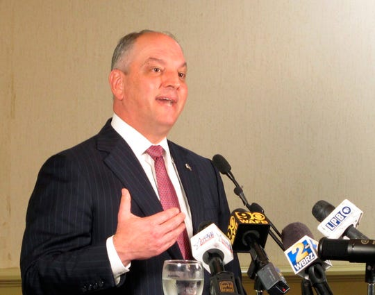 FILE - In this Jan. 7, 2019, file photo, Louisiana Gov. John Bel Edwards speaks to the Press Club of Baton Rouge about his plans for 2019, in Baton Rouge, La.