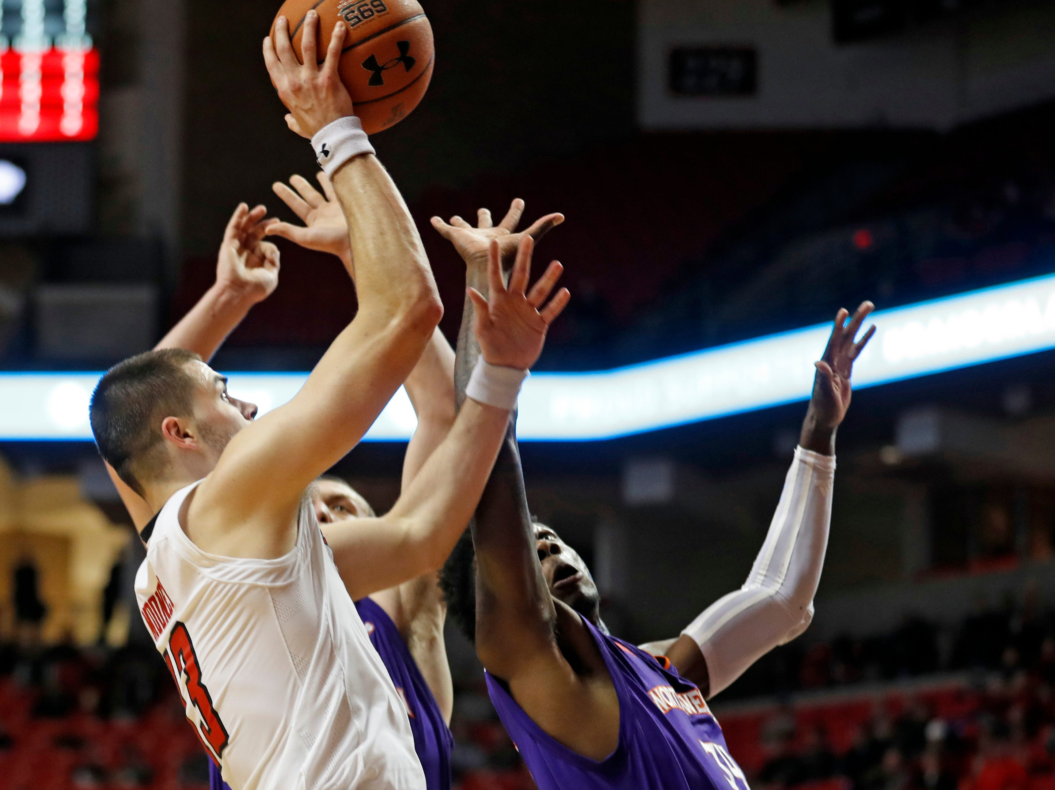 Texas Tech's Matt Mooney (13) shoots the ball during the second half of an NCAA college basketball game against Northwestern State, Wednesday, Dec. 12, 2018, in Lubbock, Texas. (AP Photo/Brad Tollefson)
