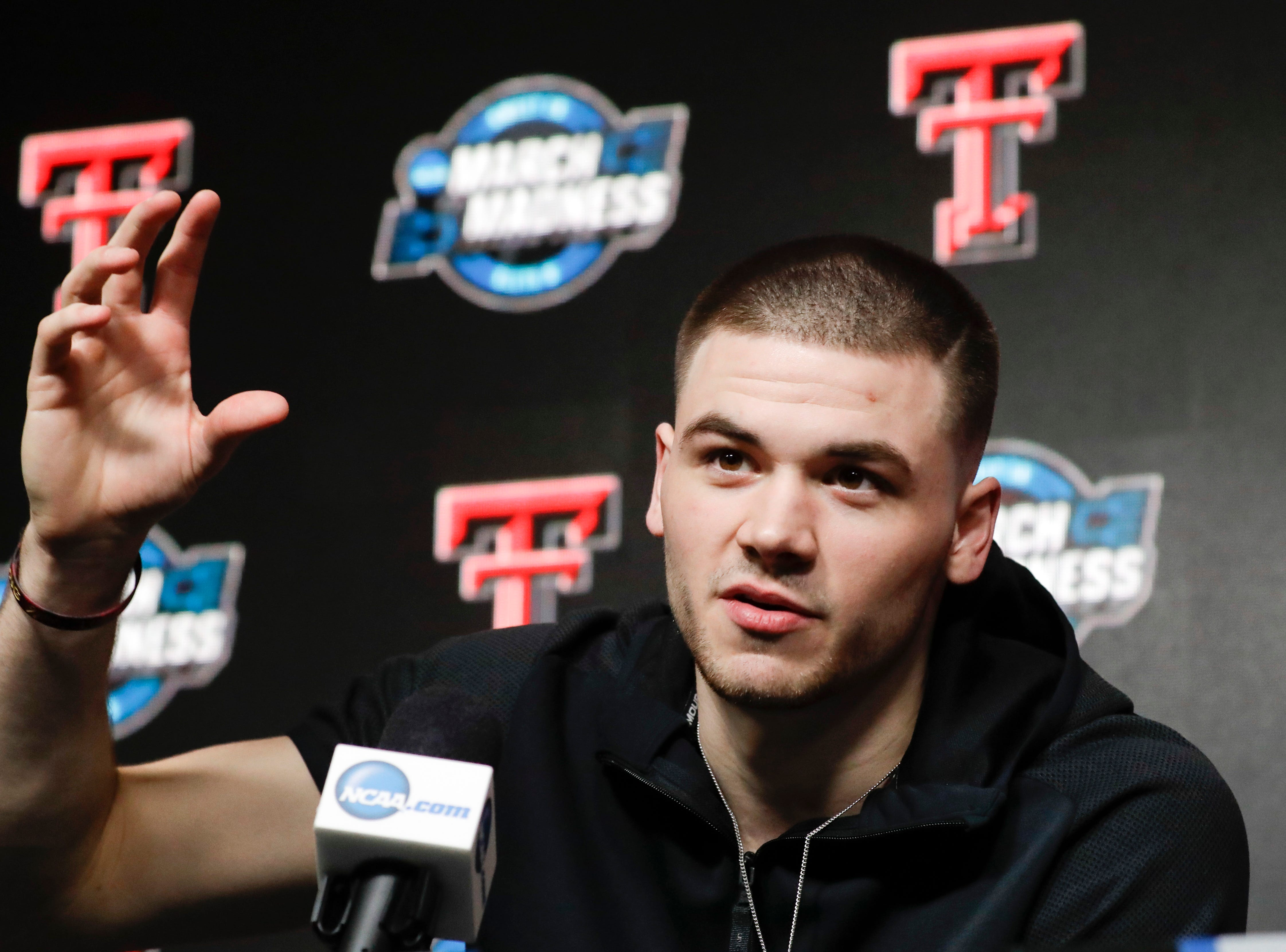 Texas Tech guard Matt Mooney speaks during a news conference at the NCAA men's college basketball tournament in Anaheim, Calif., Wednesday, March 27, 2019. Texas Tech plays Michigan in a West Regional semifinal on Thursday.(AP Photo/Chris Carlson)
