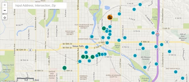 A screenshot from the Xcel Energy Outage Map, showing reported outages on April 4.