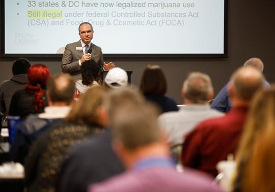 Dwayne Fulk, an attorney for City Utilities, speaks during the Legalization & the Workforce event at the Missouri Career Center on Thursday, April 4, 2019.