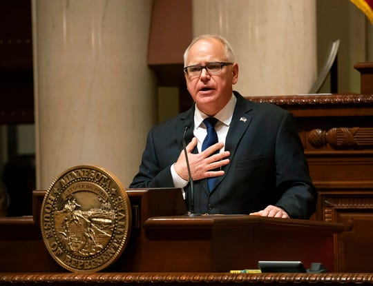 Gov. Tim Walz speaks during the State of the State address at the state Capitol in St. Paul on  Wednesday, April 3.