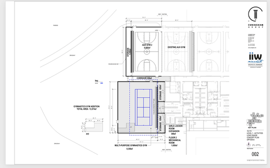 One option would be about 13,000 square feet and would include gymnastics space, storage space, additional locker room space and room for one tennis court.