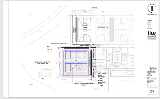 Another plan would be about 16,000 square feet and would include gymnastics space, storage space and additional locker room space, as well as room for two tennis courtsand space for softball and baseball practice.