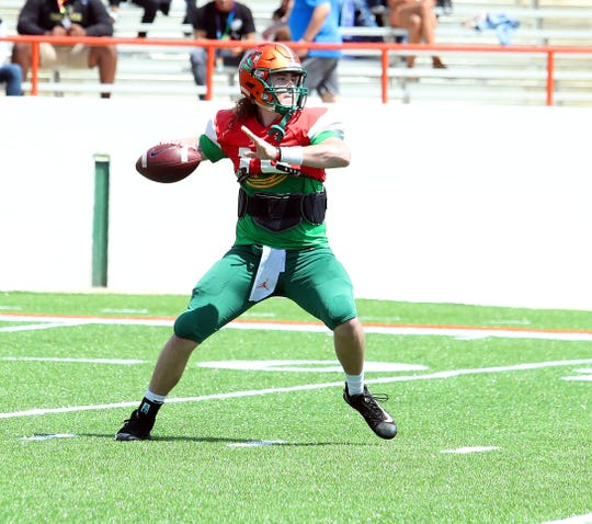 FAMU quarterback Ryan Stanley drops back for a pass in the Orange & Green Game on Saturday, March 30, 2019 at Bragg Memorial Stadium.