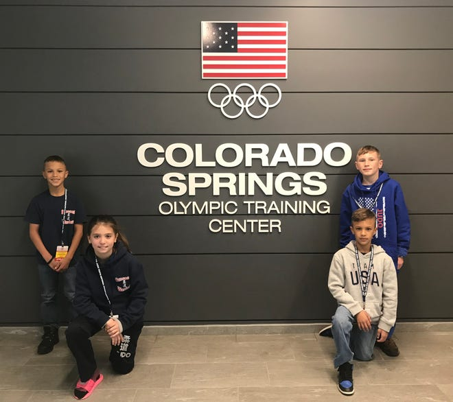 Julien Fernandez, left standing, Aubrey Genereux, left kneeling, Patrick Moeller, right standing, and Cristian Fernandez represented the Suncoast Warriors Judo Team of Port St. Lucie at The Olympic Training Center in Colorado Springs, Colorado.