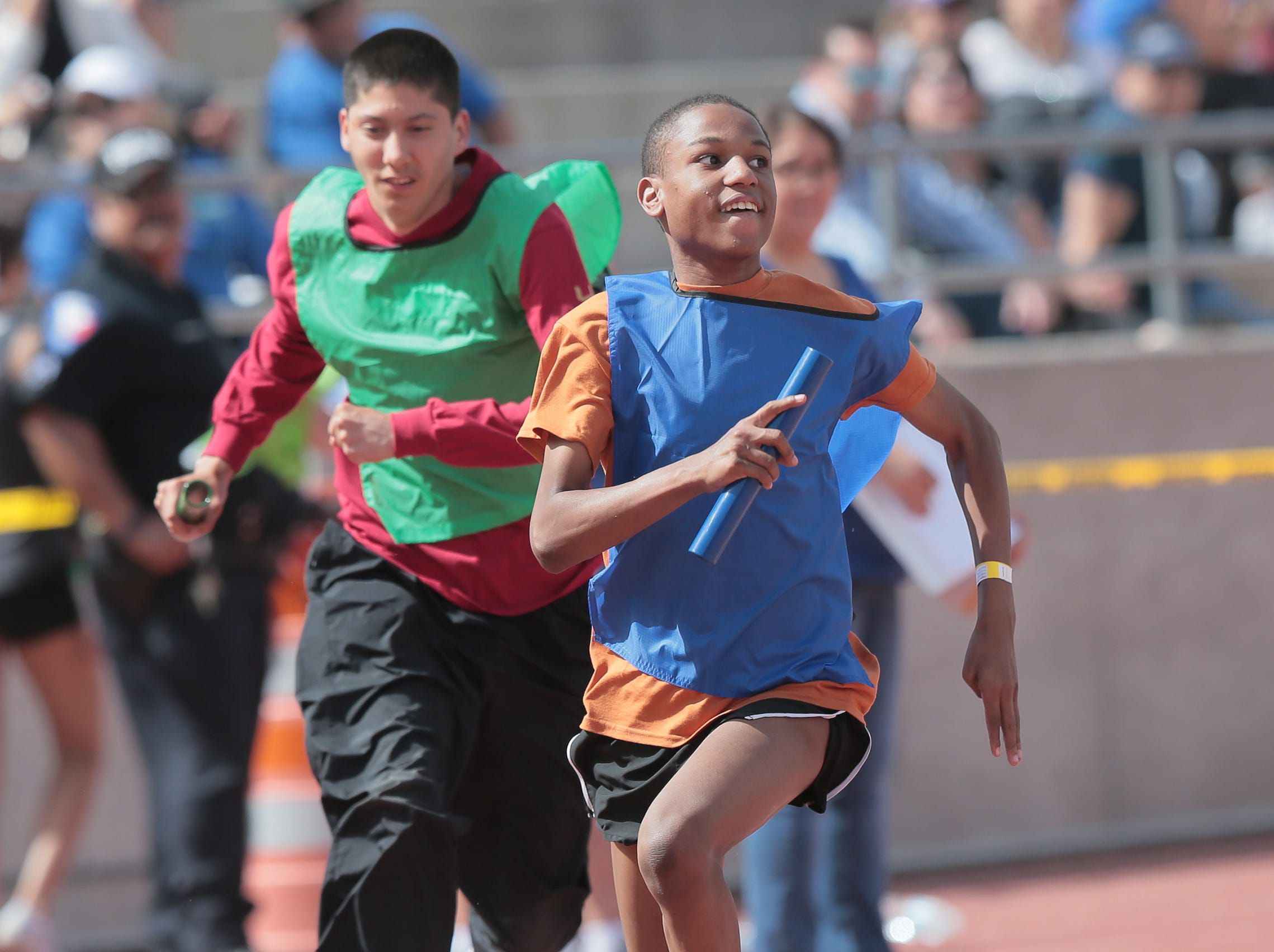 Runners compete Wednesday, April 3, 2019, in the Socorro Independent School District's annual Spring Games. More than 1,000 students competed in a variety of track events.