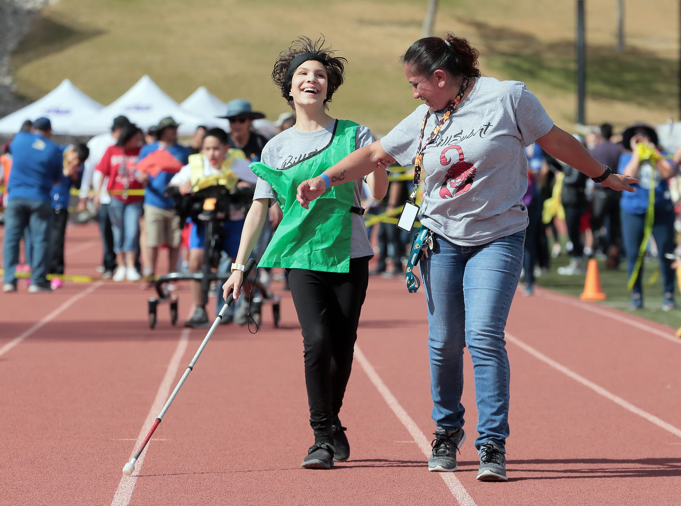 Over 1,000 students with special needs participated in the Socorro Independent School District's annual Spring Games. Students competed in a variety of track events Wednesday, April 3, 2019.