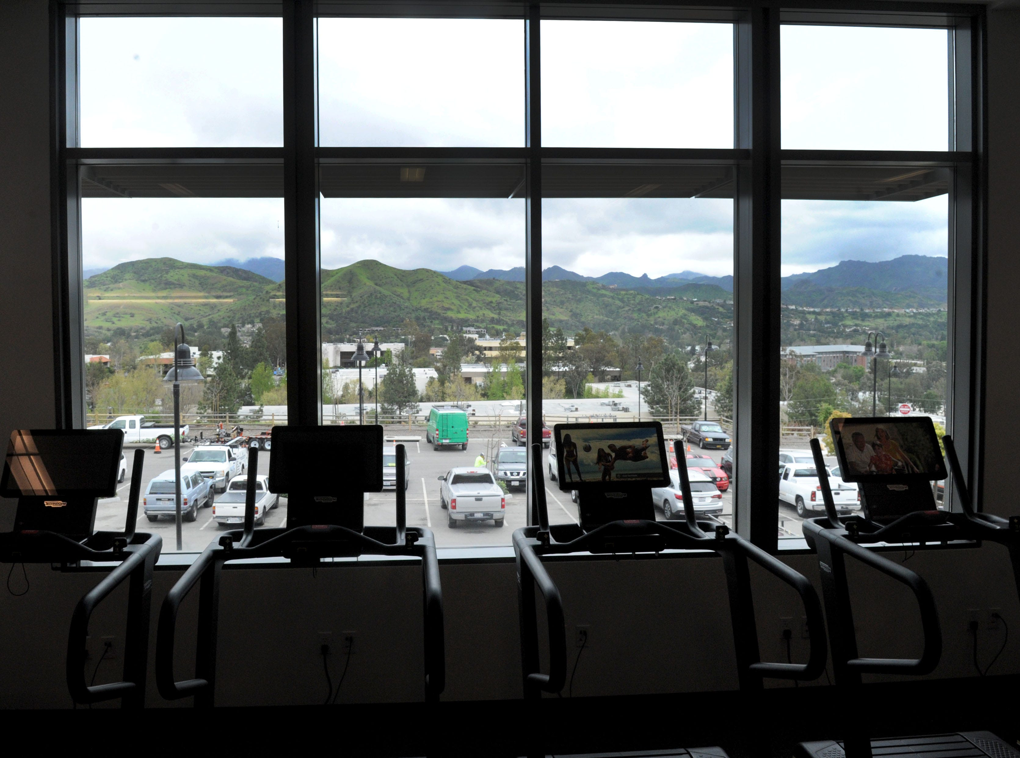 The gym at the new Yarrow Family YMCA in Westlake Village offers spectacular views. The club's grand opening is April 27.