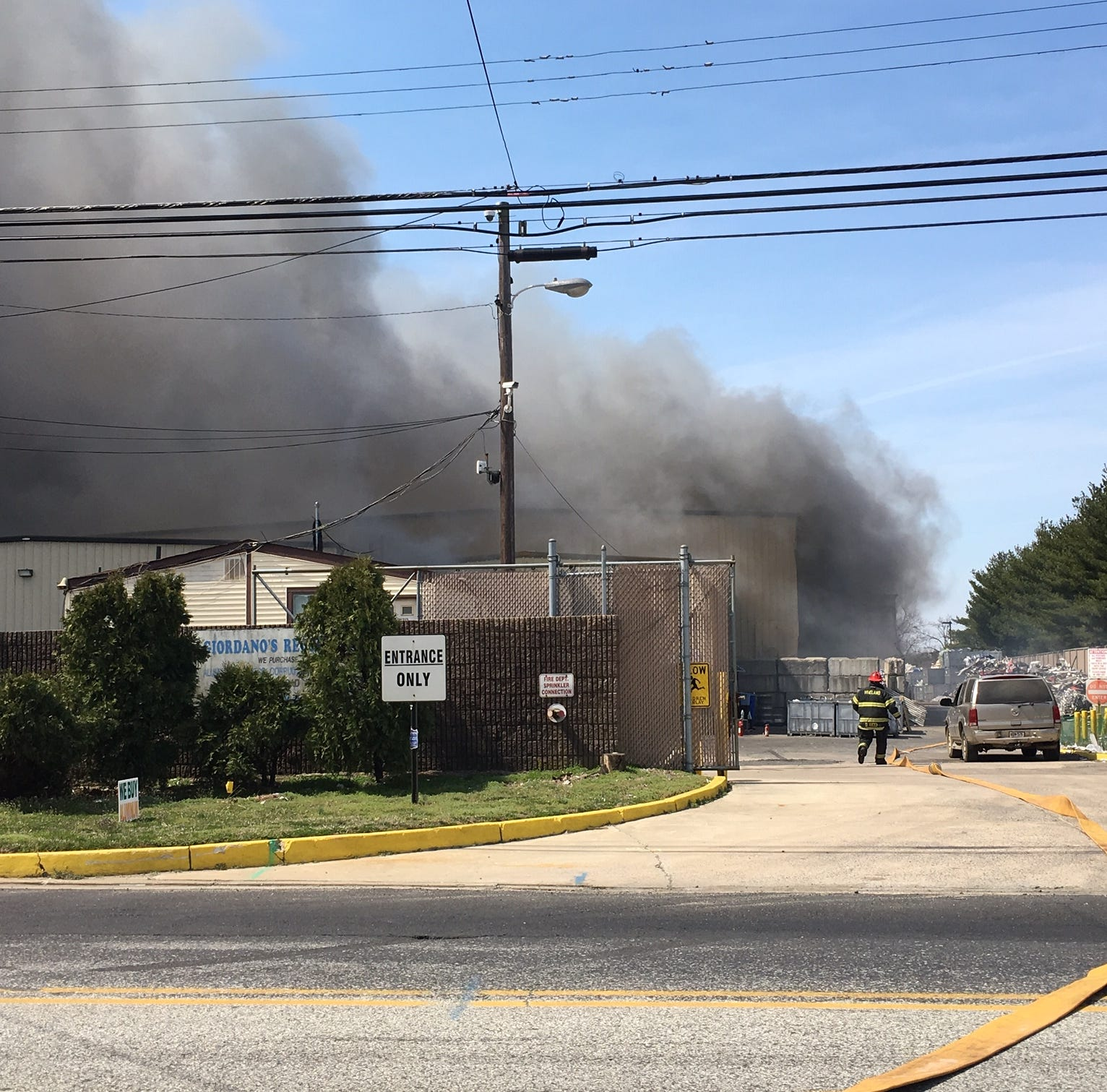Vineland crews fighting fire at Giordano's Recycling, water tenders called