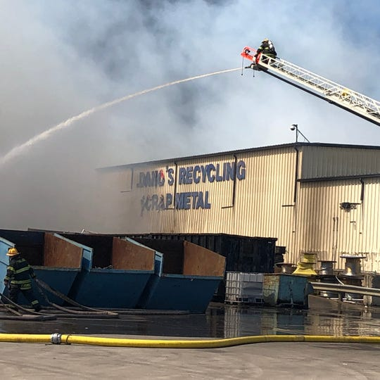 Vineland firefighters battled a 3-alarm fire Giordano's Waste and Recycling Management on Mill Road.