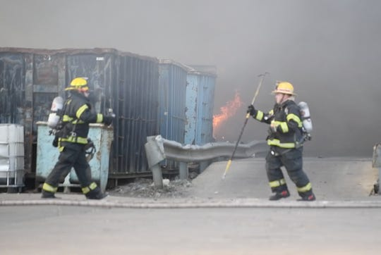 Firefighters were on the scene battling a 3-alarm fire at Giordano's Recycling in Vineland on Thursday, April 4, 2019.