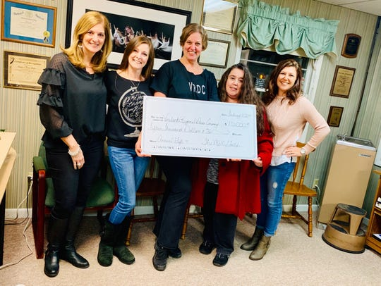 (From left) Gaye Bisignaro, treasurer, Vineland Regional Dance Company Guild, Brooke Luciano, president, VRDC Guild, Kimberly Chapman, artistic director, Vineland Regional Dance Company, Elizabeth Anthony, vice president, VRDC Guild, and Carol Cullis, secretary, VRDC Guild, were present as the VRDC Guild donated $15,000 to assist with expenses for VRDC members to attend Regional Dance America's 59th Northeast Festival from May 24 to 26, in Manchester, N.H.