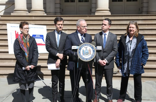 N.Y. Assemblyman Jeffrey Dinowitz, center, flanked by N.Y. State Sens. Brad Hoylman, left, and David Carlucci, with Dr. Shiela Palevsky, far left, and Dr. Linda Prine, speak at City Hall Park in New York on Thursday, April 4, 2019.