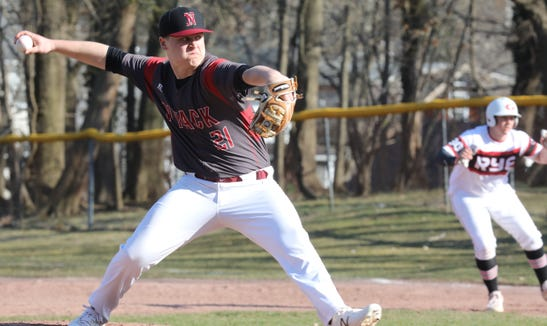 Nyack's Parker Stemkowski (21) pitches against Rye during baseball game at Disbrow Park in Rye April 3, 2019. Rye defeats Nyack 6-4.