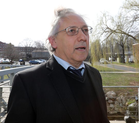Attorney Michael Sussman speaks outside the Rockland County Courthouse after a hearing on the Rockland County state of emergency because of measles April 4, 2019.
