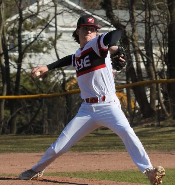 Rye's Declan Lavelle (21) pitches against Nyack during baseball game at Disbrow Park in Rye April 3, 2019. Rye defeats Nyack 6-4.