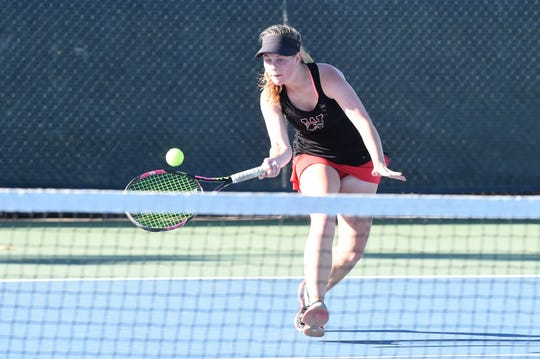 Alexa Alden goes for a shot in the District 4-5A girls finals match in Abilene.