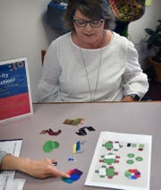 Angela Hill, assistant administrator of the Wichita Falls Public Library, displays pictures of kid-friendly furniture for the childrens section of the library.