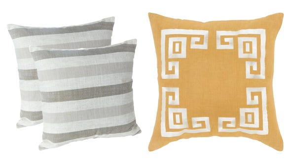 These stylish throw pillows belong on a patio.