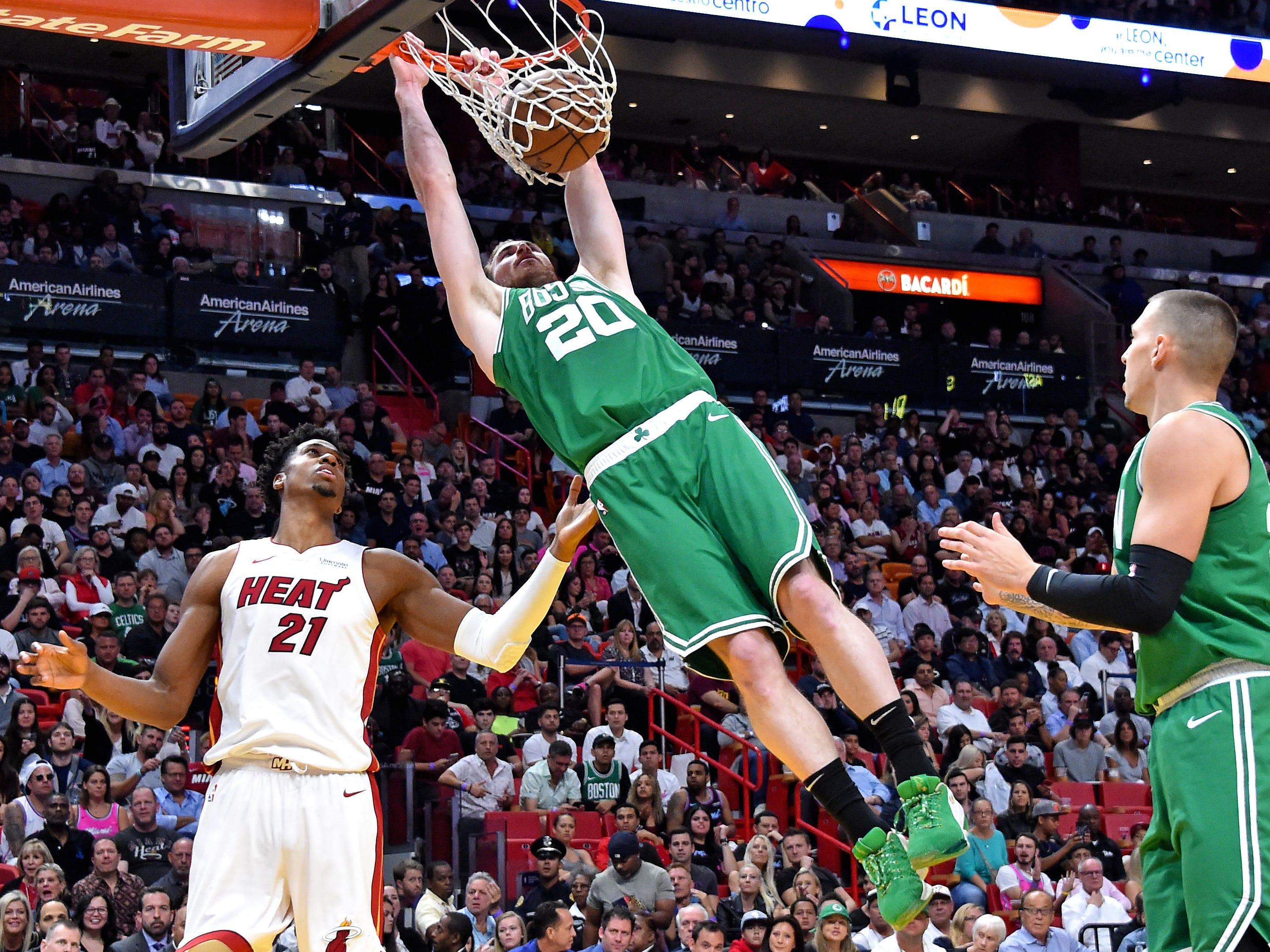 April 3: Boston Celtics forward Gordon Hayward dunks the ball against the Miami Heat.