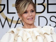Jan 10, 2016; Beverly Hills, CA, USA; Jane Fonda arrives on the red carpet during the 2016 Golden Globe Awards at The Beverly Hilton in Beverly Hills. Mandatory Credit: Dan MacMedan-USA TODAY NETWORK ORIG FILE ID:  20160110_pjc_gan_104.JPG
