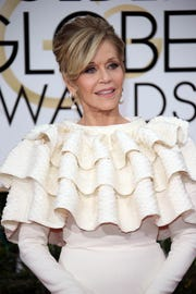 """Jane Fonda says there was a reason she wore this ruffled dress to the 2016 Golden Globes: """"I'd just had a mastectomy and I had to cover my bandages."""""""