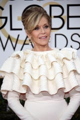 "Jane Fonda says there was a reason she wore this ruffled dress to the 2016 Golden Globes: ""I'd just had a mastectomy and I had to cover my bandages."""