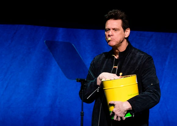 Actor Jim Carrey appears on stage during the CinemaCon Paramount Pictures Exclusive Presentation on April 4, 2019, in Las Vegas, Nevada.
