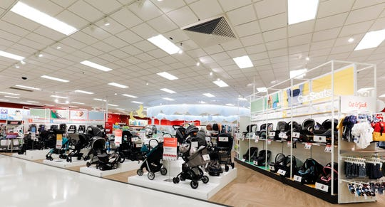 Select Target stores have revamped their baby department with lower shelves, displays of sample nurseries and areas where parents can test out products such as strollers and car seats.
