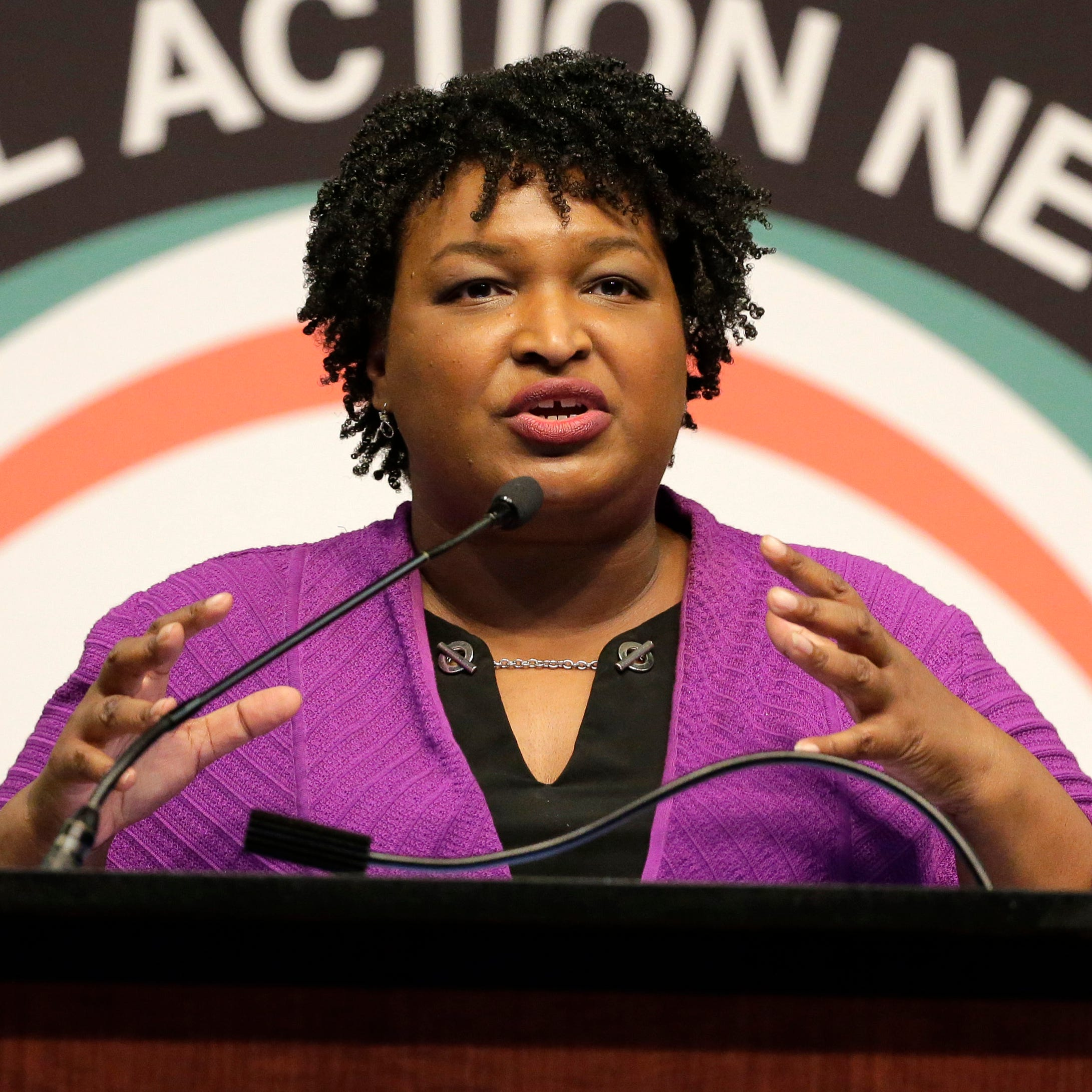 Former Georgia gubernatorial candidate Stacey Abrams speaks during the National Action Network Convention in New York,  April 3, 2019.