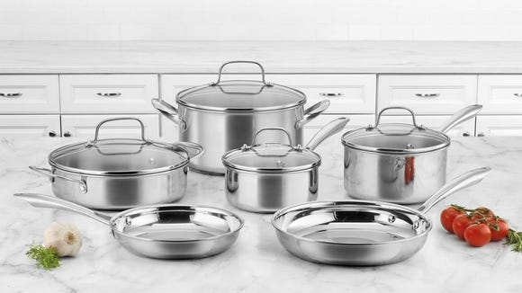 Upgrade your kitchen with a sleek set of stainless steel cookware.