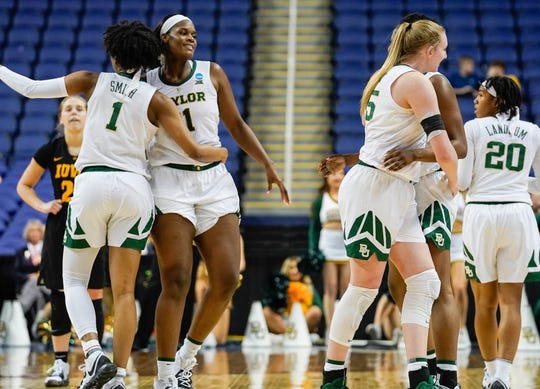 Baylor players celebrate after defeating Iowa in the championship game of the Greensboro Rregional in the women's 2019 NCAA tournament.