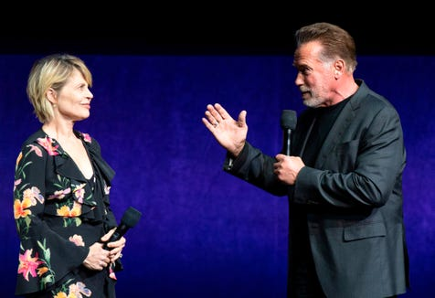 "They'll be back: ""Terminator: Dark Fate"" co-stars Linda Hamilton and Arnold Schwarzenegger talked up the sixth ""Terminator"" movie at CinemaCon."