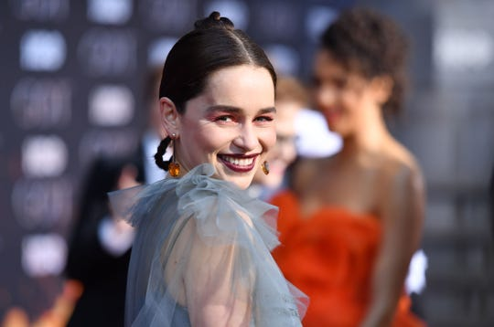 """Emilia Clarke, who plays Mother of Dragons Daenerys Targaryen, was one of many """"Game of Thrones"""" stars, past and present, who hit the red carpet at Wednesday's final-season gala in New York."""