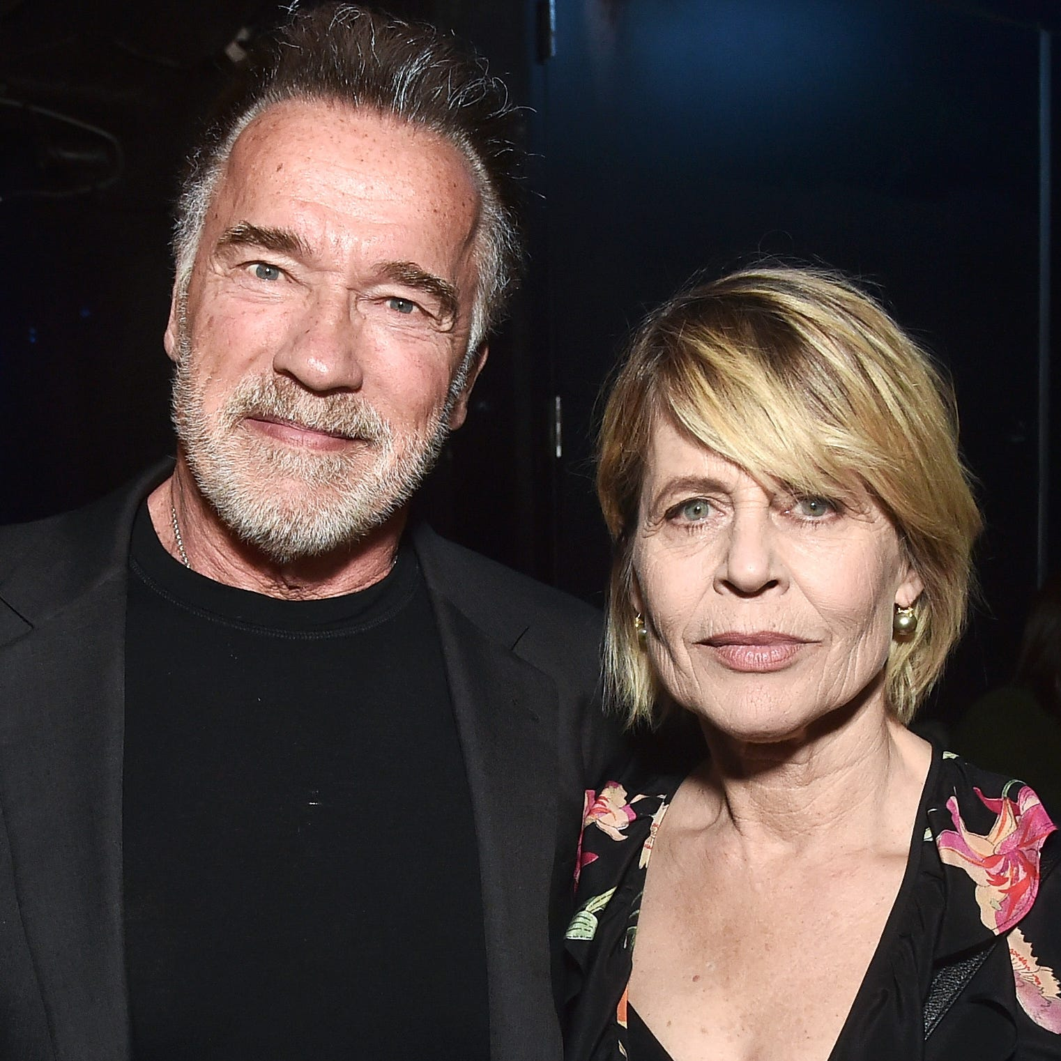 LAS VEGAS, NV - APRIL 04:  (L-R) Arnold Schwarzenegger and Linda Hamilton attend CinemaCon 2019- Paramount Pictures Invites You to an Exclusive Presentation Highlighting Its Upcoming Slate at The Colosseum at Caesars Palace during CinemaCon, the official convention of the National Association of Theatre Owners, on April 4, 2019 in Las Vegas, Nevada.  (Photo by Alberto E. Rodriguez/Getty Images for CinemaCon) ORG XMIT: 775321861 ORIG FILE ID: 1134869775