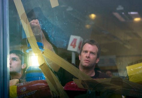 "Thomas Jane stars as one of the folks holed up in a grocery story while weirdness reigns outside in ""The Mist."""