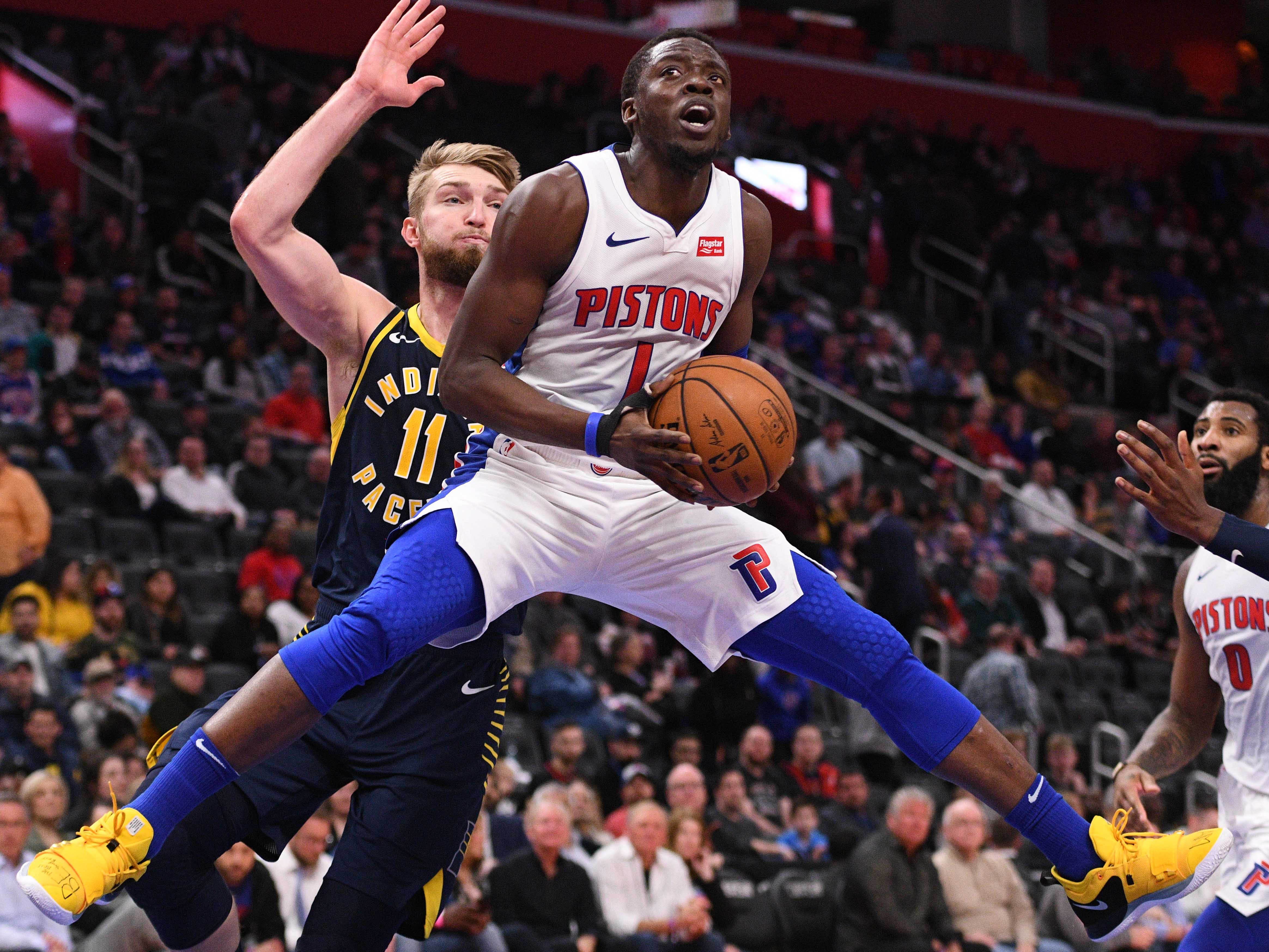 April 3: Detroit Pistons guard Reggie Jackson (1) drives to the basket against Indiana Pacers forward Domantas Sabonis (11) during the fourth quarter at Little Caesars Arena.